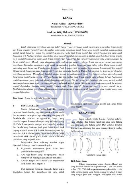 Lensa Cembung Praktikum jurnal seminar praktikum fisika dasar ii lensa
