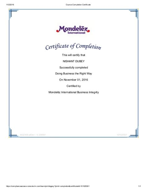 Doing Businesses The Right Way by Mondelez Certificate Of Completion Doing Business In The