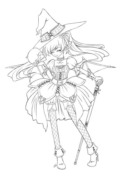 anime magical girl coloring pages halloween queen lineart by angelnablackrobe on deviantart