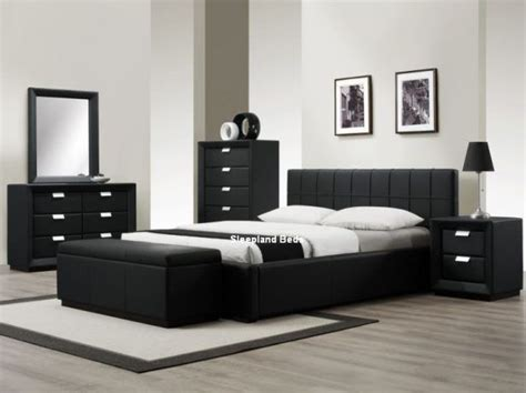 contemporary black bedroom furniture best 25 black leather bed ideas on black