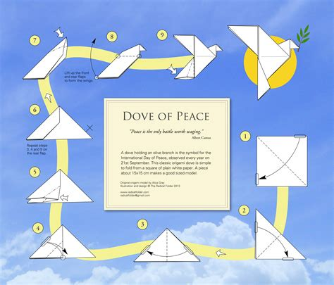 Peace Dove Origami - the radical folder paper folding with an edge
