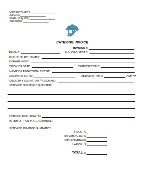 6 catering receipt templates free sle exle