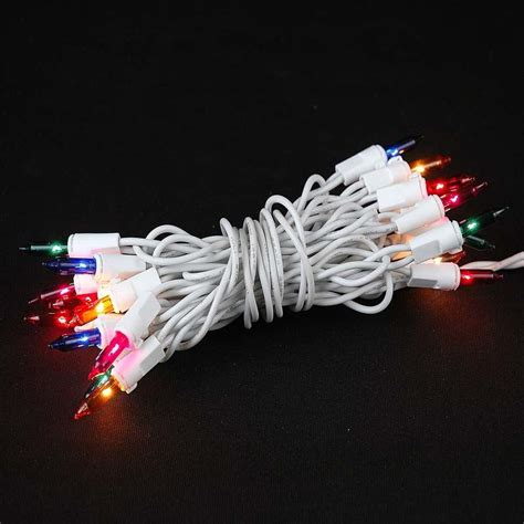 20 Light Multi Led Christmas Light Set Non Connectable White Wire Mini Lights