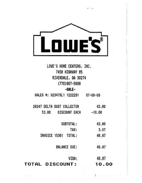 lowe s receipt template amazing price on delta dust collector international
