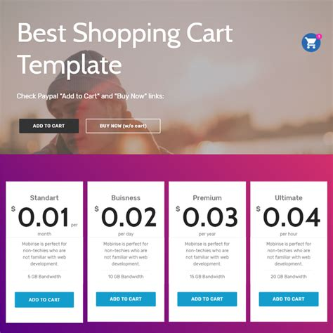 Free Bootstrap 4 Template 2018 One Page Shopping Cart Template