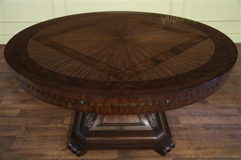 Round Dining Room Table With Leaves by Large Round Mahogany And Walnut Perimeter Table