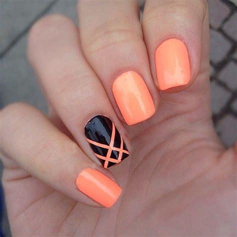 easy nail art orange and black 20 dise 241 os de decoraci 243 n para u 241 as que son cortas