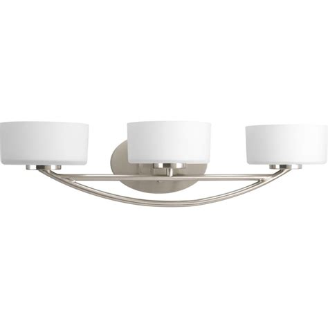 Bathroom Lighting Collections by Progress Lighting Calven Collection Brushed Nickel 3 Light