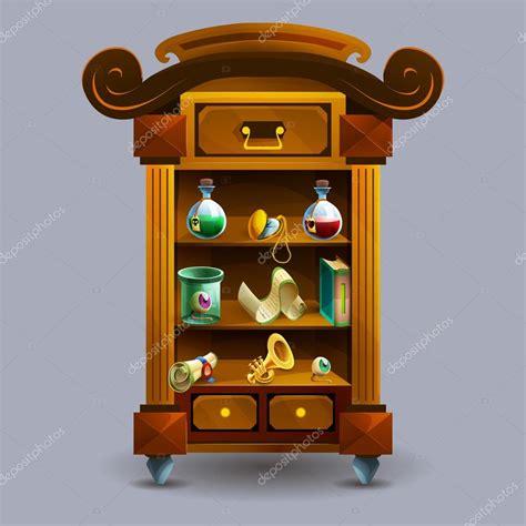 armadio di cartone armadio di cartone animato con pozioni vettoriali stock