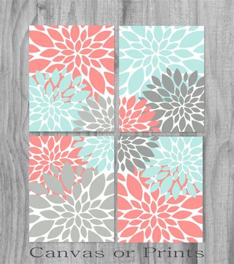 Coral aqua turquoise gray print or canvas art print home decor