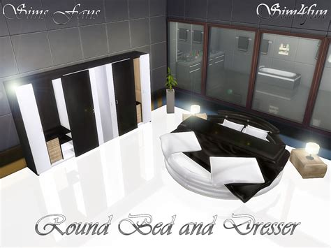 mod 4 sims bed round bed and modern dresser sims 4 updates sims 4