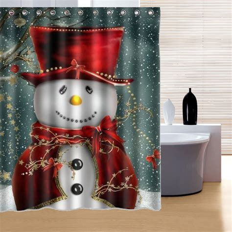 150x180cm snowman pattern waterproof polyester shower