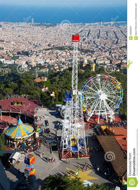 theme park in barcelona tibidabo amusement park in barcelona editorial photo