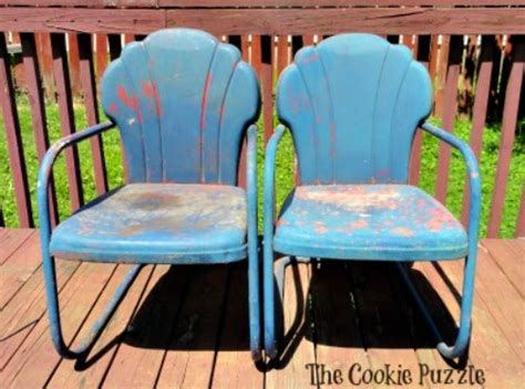 painting metal chairs the cookie puzzle painting metal chairs with chalk paint