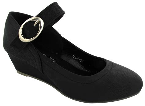 Ladies Womens Comfortable Black Short Medium Wedge Work