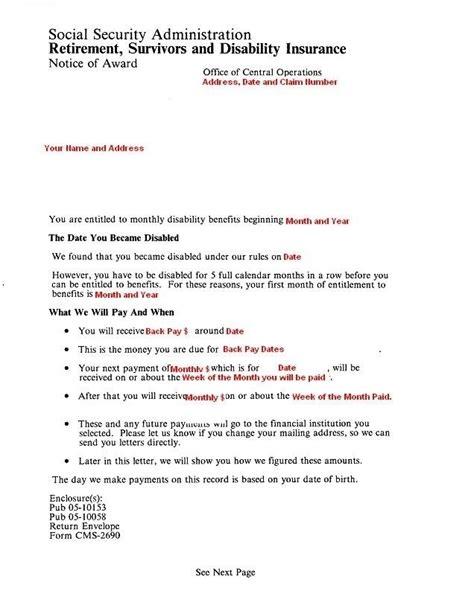 Award Letter Ssdi ssi disability award letter 2018 world of reference