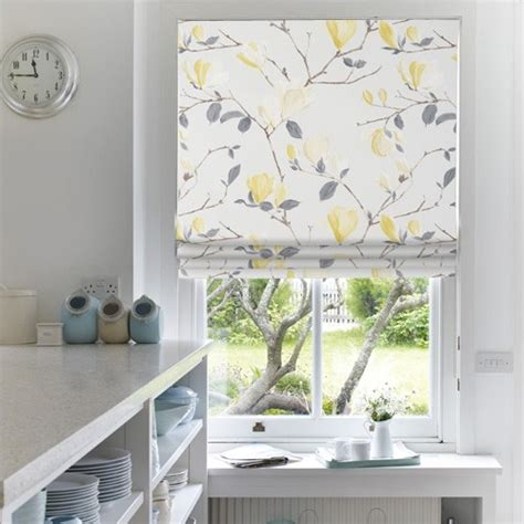 yellow pattern roman shade floral blinds with eastern promise web blinds