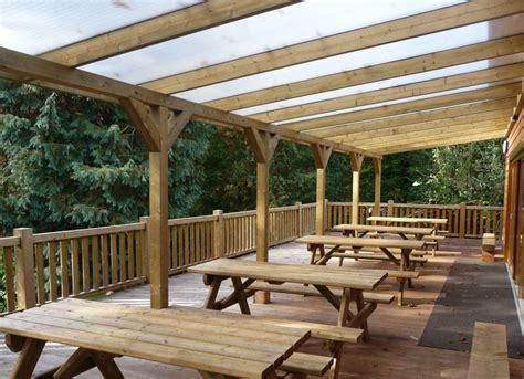 Wooden Veranda for Outdoor Dining   Cabinco Structures