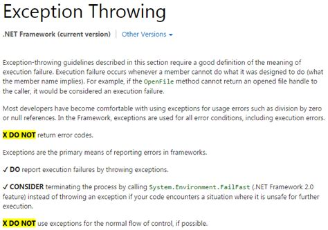 design exception criteria why exceptions should be exceptional codeproject