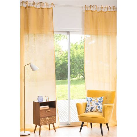 Yellow Linen Curtains Mustard Yellow Linen Tie Top Curtain 105 X 300 Cm Maisons Du Monde