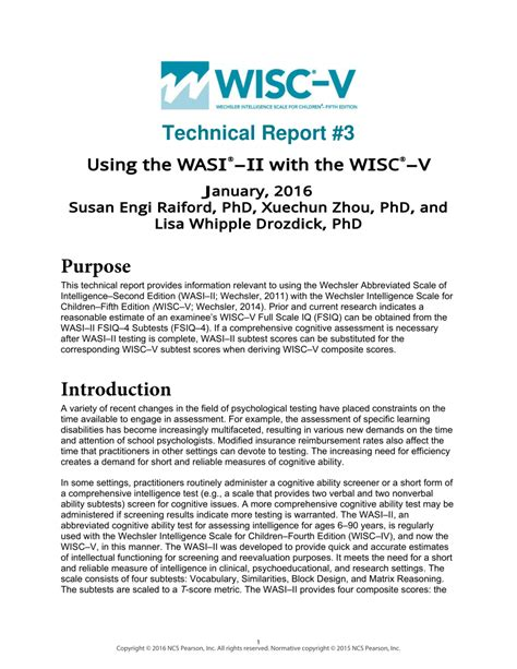 Pdf Using The Wasi Ii With The Wisc V Wechsler Nonverbal Scale Of Ability Report Template