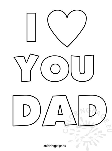 coloring pages i love u father s day i love you dad