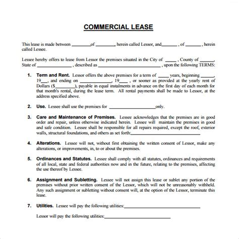 sample commercial lease agreement templates