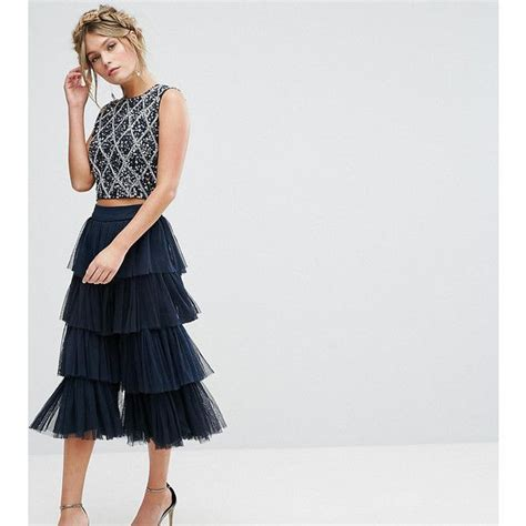 Lace Tiered Tulle Culottes best 25 navy cocktail dress ideas on blue