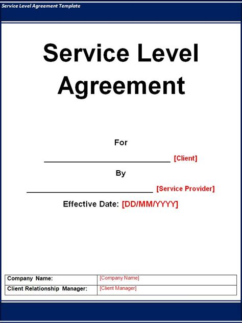 Service Level Agreement Template   Word Excel PDF