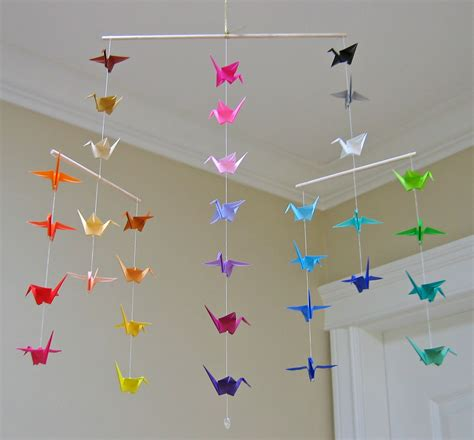 Mobile Origami - origami crane mobile colour wheel contemporary mobile