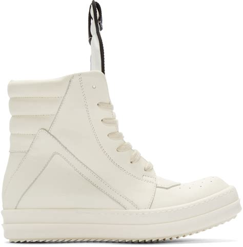 white rick owens sneakers rick owens white geobasket high top sneakers in white lyst