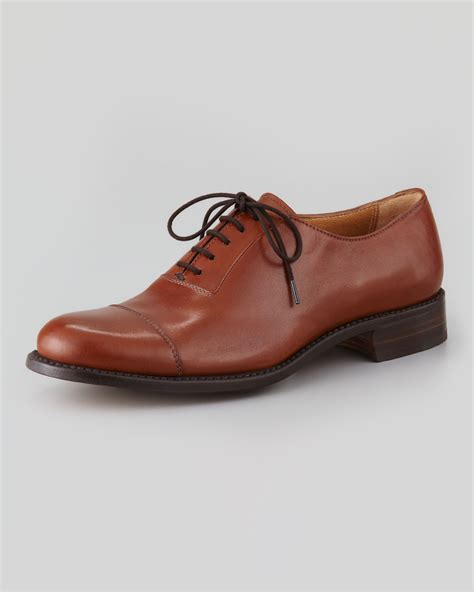 camel oxford shoes gravati leather captoe oxford in brown camel lyst