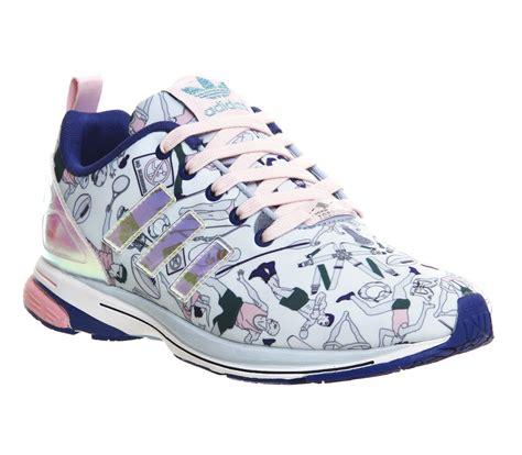 womens shoes adidas katrantzou zx flux tech clear sky light pink collegiate royal