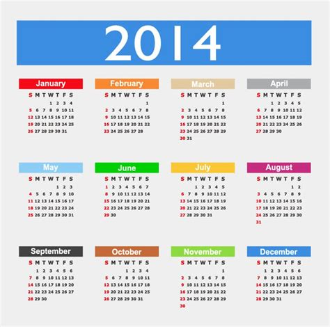 design calendar graphic calendar design 2014 year vector graphic free vector