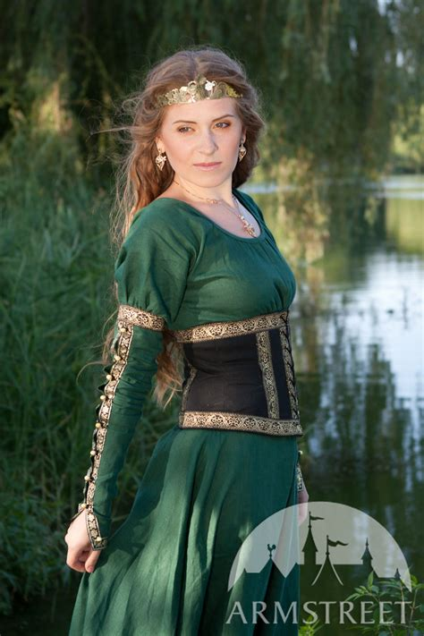 flax linen dress with wide bodice