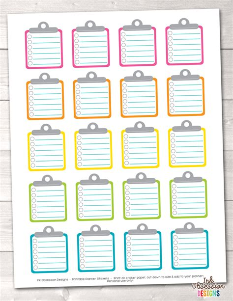 printable planner stickers pdf clipboard to do checklists printable planner stickers