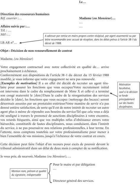 Exemple Lettre De Motivation Fonction Publique Annexe Iv Mod 232 Le De Notification De Non Renouvellement De Contrat Les Agents Contractuels Des