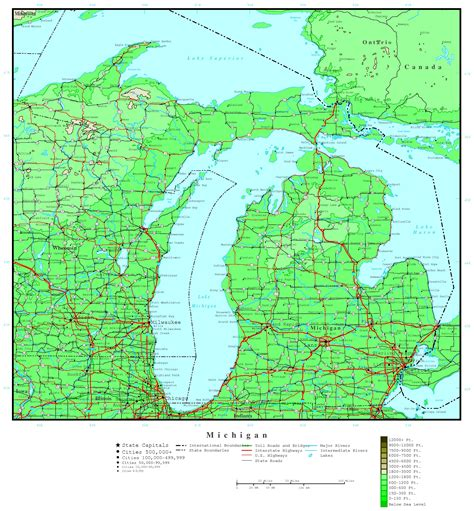 mi map michigan elevation map