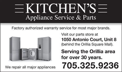 kitchen appliance repair parts kitchen s appliance service 1050 antonio crt orillia on