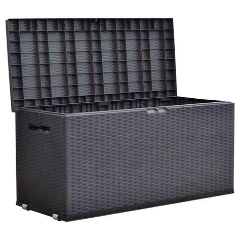 design aufbewahrung gartentruhe nizza rattan design rollbox auflagenbox kissen