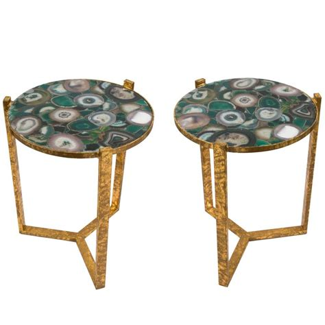 pair of gilt iron and agate side tables circa