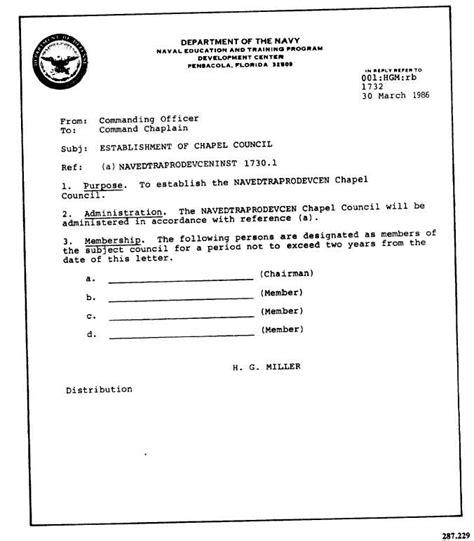 Commanding Officer Endorsement Letter Exle sle letter from commanding officer establishing chapel