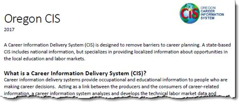 Oregon State Mba Information Systems by Oregon Career Information System Login
