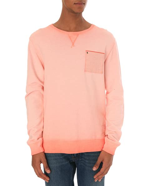 Pocket Sweater scotch soda coral overdyed pocket sweater in pink for lyst