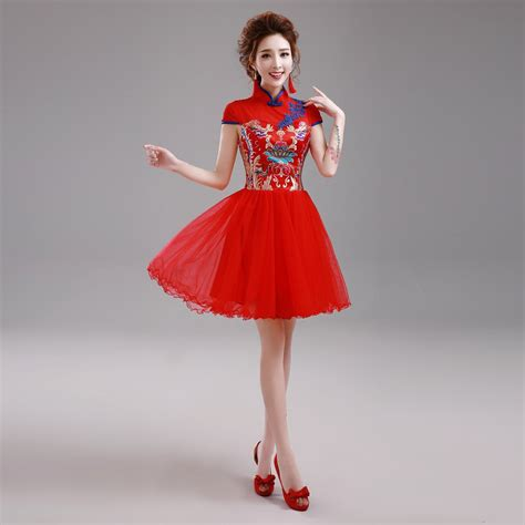 traditional chinese cheongsam dresses red cheongsam qipao embroidery chinese traditional dress