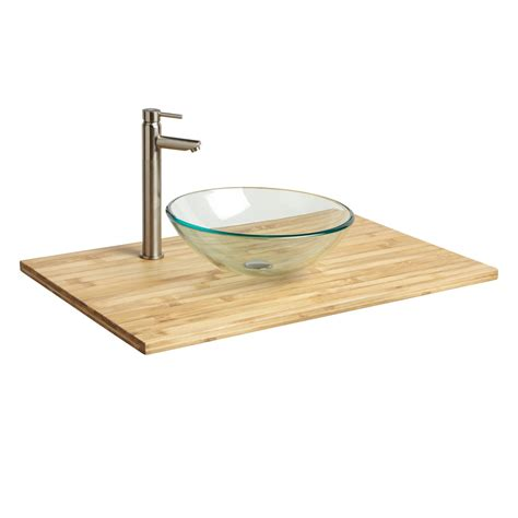 Vanity Top With Sink 37 Quot X 22 Quot Bamboo Vessel Sink Vanity Top Bathroom