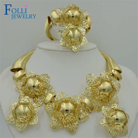 exotic nigerian beaded necklace design 2017 top exquisite dubai jewelry set luxury gold color big