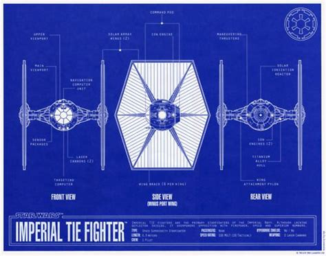 tie fighter blueprint technical drawings wars trek