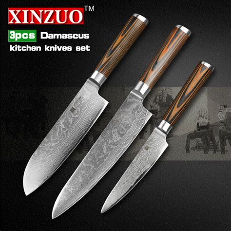 Japanese Damascus Kitchen Knives Aliexpress Buy 3 Pcs Kitchen Knives Set 73 Layer Damascus Kitchen Knife Japanese Vg10