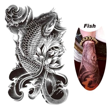 dragon fish waterproof removable temporary tattoo body arm